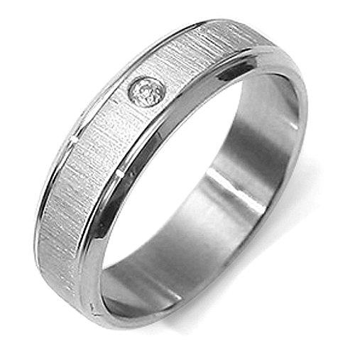 Gemini Damen-Ring Titan , Herren-Ring Titan , Freundschaftsringe , Hochzeitsringe , Eheringe, Farbe: Silber, Zirkonia Breite 6mm Größe 66 (21.0)