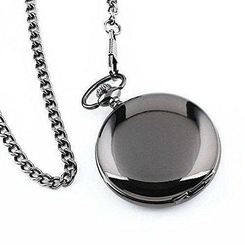 PIXNOR orologio da tasca mens caso vuoto bianco quadrante in acciaio numeri arabi con confezione regalo catena