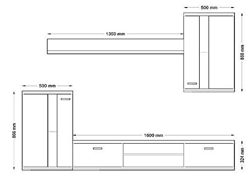 Wohnwand Anbauwand 4-teilig 6401 weiß matt inkl. LED Beleuchtung - 3