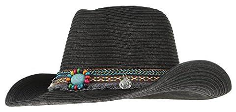 Lukis Women Men Straw Cowboy Hat Fedora Jazz Hat Sun Cap Black