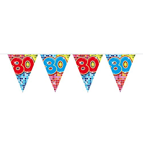 Folat Neu Wimpelkette Birthday Blocks 80, 6 m, 1 Stk.