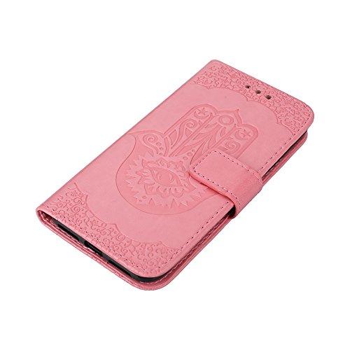 EKINHUI Case Cover Geprägte Palme Blumenmuster Retro PU Leder Geldbörse Tasche Tasche mit Card Slots und Lanyard für iPhone X ( Color : Pink ) Pink