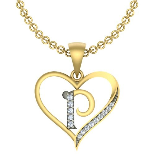 "Kanak Jewels Initial Letter ""P"" In Heart Shaped With Chain Gold Plated Cubic Zirconia Brass Pendant For Everyone"