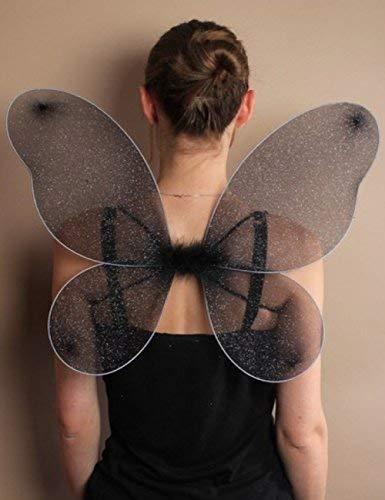 Kostüm für Erwachsene, schwarze Engel-Flügel für Mädchen, Frauen, silbernes Glitzer-Netz, Weihnachten