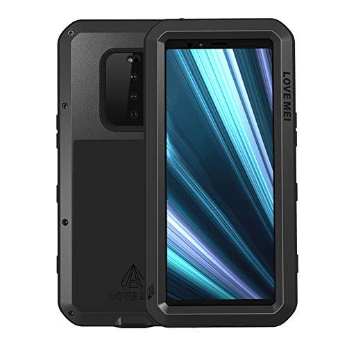 DDJ Xperia 1 Hülle,Hybride Aluminium Metall Stoßfest Case Cover mit Eingebautem Gorilla gehärtetem Glas Schutzfolie Bildschirmschutzfolie Handyhülle für Sony Xperia 1 (Schwarz)