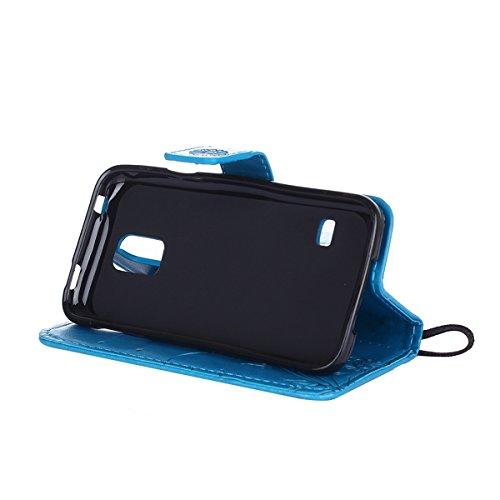 Hülle für Samsung Galaxy S5 Mini, Tasche für Samsung Galaxy S5 Mini, Case Cover für Samsung Galaxy S5 Mini, ISAKEN Blume Schmetterling Muster Folio PU Leder Flip Cover Brieftasche Geldbörse Wallet Cas Sonnenblume Schmetterling Blau