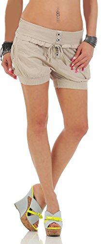 malito Damen Hotpants in Unifarben | lockere kurze Hose | Bermuda für den Strand | Pants - Shorts - klassisch 6086 (beige, M) (Klassische Bermuda)