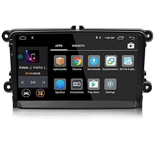LOY Android 8.0 Doppel-Din-Autoradio-Player mit Navigation/Bluetooth, 9-Zoll-Touchscreen-Multimedia-Autoradio-Spiegelverbindung für VW,Southeastasiamap