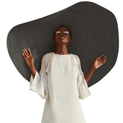 LILICAT Strohhut (Sonnenschutz) Damen |klappbare Kappe Flexible Strand Sonne Hüte | Hut aus Stroh für den Sommer am Strand oder im Urlaub |Mode Große Breite Krempe Sonnenhut (One Size, Mehrfarbig) - Stroh-strand-sonne-hut