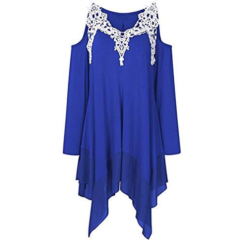 ESAILQ Frau Spitze Trägerlos Asymmetrische Shirt Top Bluse(XXL,Blau)