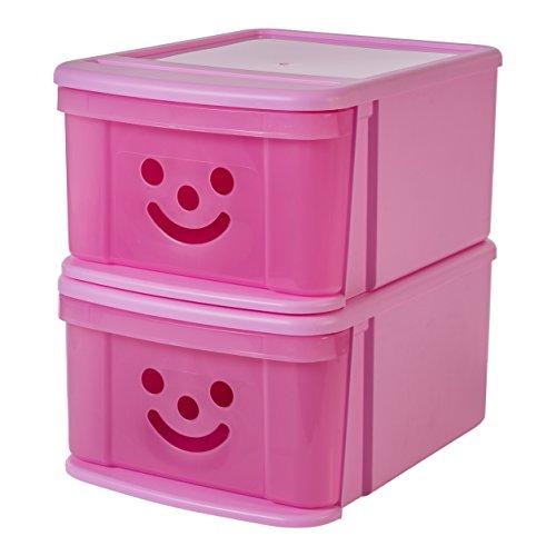 IRIS, 2er-Set Stapelschubladen 'Smiley Kids Boxes', SSD-MD, Kunststoff, magnolia, 36 x 28,5 x 18,5 cm Magnolia Box