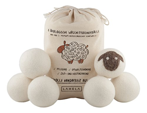 LAHELA Trocknerbälle 6er Pack - natürliche Alternative für Weichspüler. Premium Schafwolle. Pflegend, - Trockner Daunen Tennisbälle