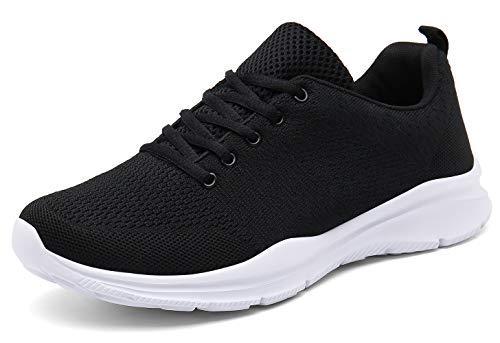 KOUDYEN Laufschuhe Atmungsaktiv Turnschuhe Schnürer Sportschuhe Sneaker für Herren Damen (EU38, Schwarz)