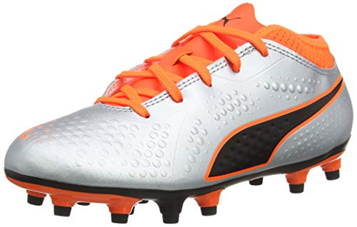 Puma ONE 4 Synthetik FG Kinder Fußballschuhe Silver-Orange-Black 2.5