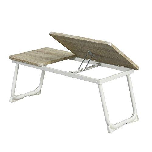 Foto de Ihouse - Mesa plegable para ordenador portátil con barra antideslizante para iPad de 14 a 17 pulgadas (madera de haya), color blanco