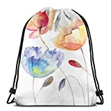 Jiger Drawstring Tote Bag Gym Bags Storage Backpack, Summer Flowers In Retro Style Painting Effect Nature Is A Blessing Art,Very Strong Premium Quality Gym Bag for Adults & Children