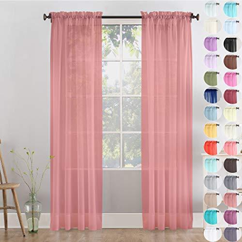Megachest gewebter Voile-Vorhang, 2 Paneele mit Bändern, 28 Farben, Dusty Rose, 56