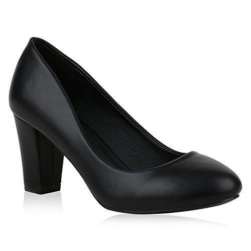 Klassische Damen Pumps Leder-Optik High Heels Elegante Schuhe 153776 Schwarz Carlton 38 Flandell -