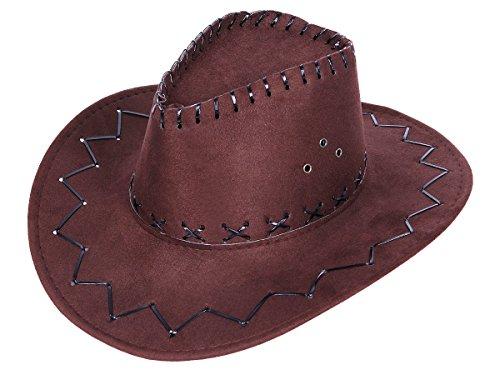 Alsino Cowboyhut Westernhut Texas Hut - braun Kinder 05a Wildlederoptik Cowboy Kostüm Karneval (Cowboy Männer Kostüm Für)