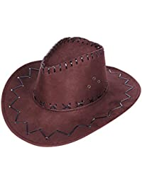 COWBOYHUT WESTERNHUT TEXAS HUT braun Kinder 05a Wildlederoptik Cowboy Kostüm Karneval