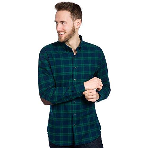 Allbow camicia verde nero uomo, maniche lunghe con toppe marroni, cotone