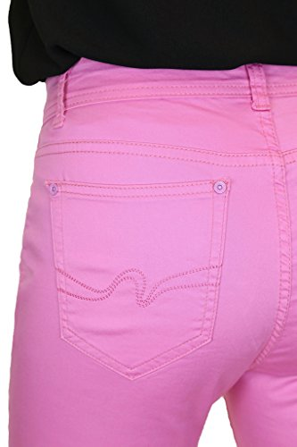 ICE (1513) Short en Jeans Style Chino Extensible avec Revers et Strass Rose