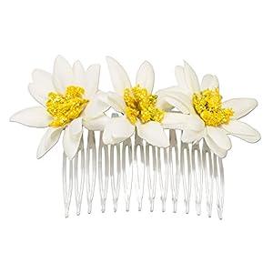 Alpenflüstern Trachten-Haarkamm Edelweiß-Blüten Creme-Weiß ADV100