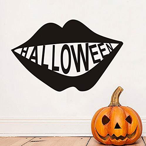 BHLTG Wohnzimmer Wandaufkleber Gesicht Zähne Halloween Party Applique Moderne Wohnzimmer Dekoration wasserdichte Wohnaccessoires Tapete 45 cm * 29 cm