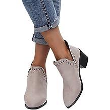 Botas de Mujer de la Vendimia, señoras otoño Zapatos Tobillo sólido Romano Botas