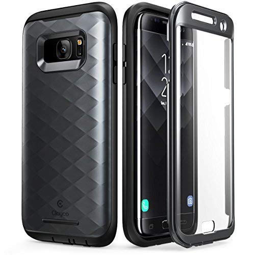 Clayco Samsung Galaxy S7 Edge Hülle [Hera], Ganzkörper Schutzhülle, Kratzfest Handyhülle Case mit Eingebautem Displayschutz für Samsung Galaxy S7 Edge, Schwarz