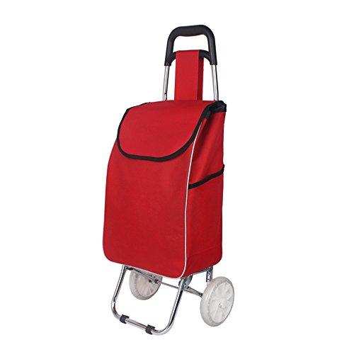 S-L-C Panier d'achat Panier d'achat Chariots à manivelle Chariot télescopique Voiture Petite remorque Maison Proche (Couleur : Rouge, taille : B)