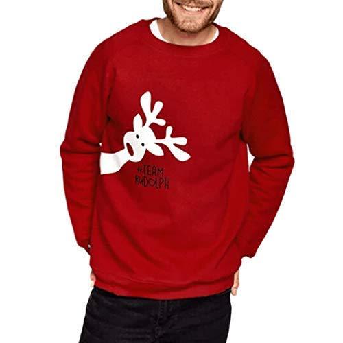 VICGREY ❤ Famiglia Mamma papà Bambini Manica Lunga Peluche Felpa Stampa Cervo di Natale Pullover Maglione Camicia Tops Regalo di Nat