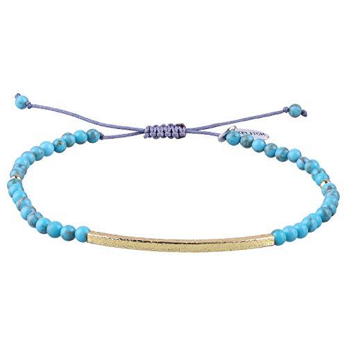 KELITCH Freundschaft Armbänder Handmadee Single Strang Gold Perlen Bar Armbänder Chic Armreif (blau) (Blau Und Gold Perlen)