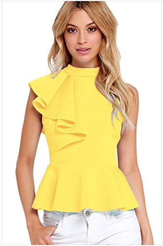 meinice-asymmetric-ruffle-side-peplum-top-yellow-l