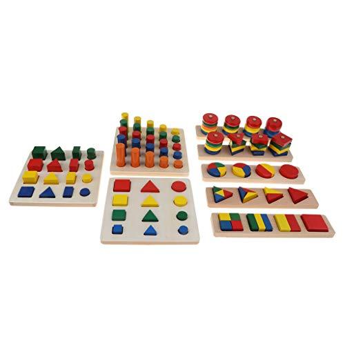 KESOTO Juegos de Aprendizaje de Madera para Niños Box 8 Set Bloque Geométrico Juego Apilamiento Montessori