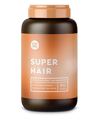 SUPER HAIR | 90 Kapseln | Biodynamischer Ansatz für gesunde, volle und kraftvolle Haare, Augenbrauen und Wimpern | Mit Lycopin, Keratin und Multi-Silizium