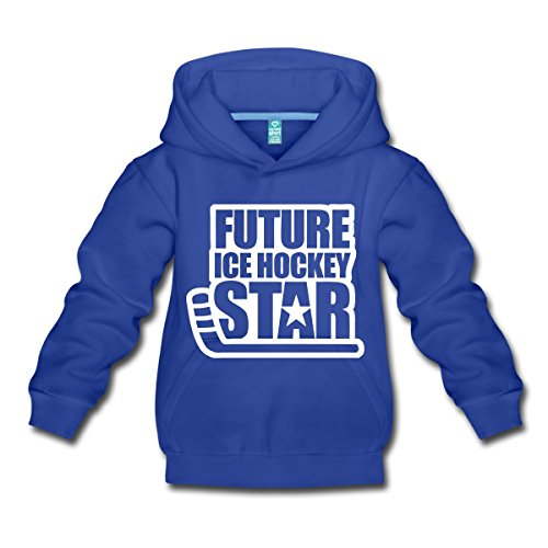 Spreadshirt Eishockey Future Ice Hockey Star Kinder Premium Hoodie, 122/128 (7-8 Jahre), Royalblau