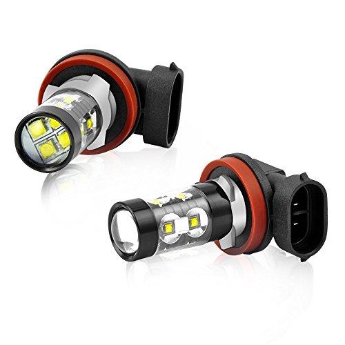 H11 Phare Antibrouillard LED Lumières avant 50W 6000K Blanc 12V Ampoule LED Lampe de course de jour de voiture DRL 2828 LED Chips Diesel Auto Zone