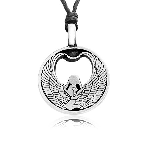 Llords Schmuck Halskette mit ägyptischer Gottheit Isis Amulett Anhänger, feinster Zinn Metall ()