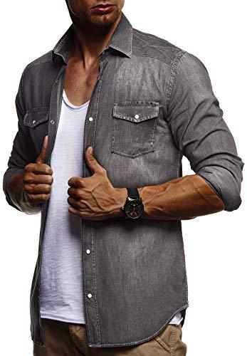 LEIF NELSON Herren Freizeithemd Jeans Hemden Jacke Weste Verwaschen Langarm Kurzarm T-Shirt LN9201N; Medium, Schwarz