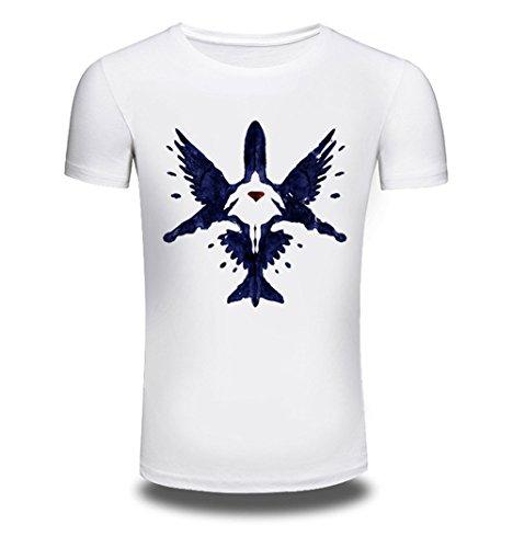 T-Shirt Männer reine Baumwolle Crew-neck Kurzarm, white, XXXL (Baumwolle T-shirt Reine Crewneck)