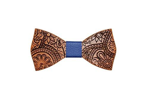 Papillon in legno di cilieggio con nodo in pelle accessori moda cerimonia mod.juke v.2