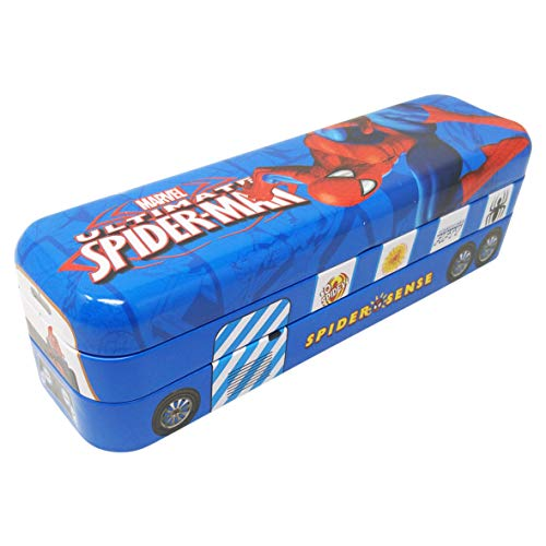 Parteet® Multicolour Cartoon Printed Bus Shape Matal Pencil Box Cum Toy for Kids(Spider Man)