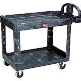 Rubbermaid comercial carro de utilidad para uso pesado, con estantes, tamaño mediano, negro (452088bk), M, Negro, 1