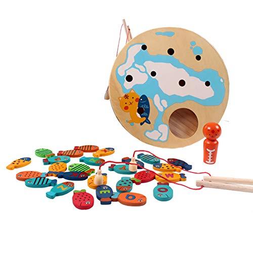 piel-Spielzeug, Kinder pädagogisches buntes magnetisches hölzernes Fischerei-Spielzeug-Vorschulbrettspiel ()