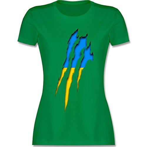 Shirtracer Länder - Ukraine Krallenspuren - Damen T-Shirt Rundhals Grün