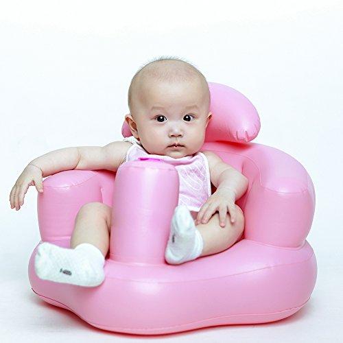 Seggiolino per bambino gonfiabile booster learn to sit divano con schienale e pompa integrata per i bambini bambini, pink, taglia unica