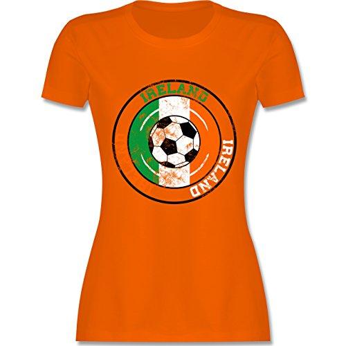 EM 2016 - Frankreich - Ireland Kreis & Fußball Vintage - tailliertes Premium T-Shirt mit Rundhalsausschnitt für Damen Orange