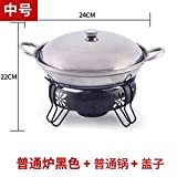 wa8a Chafing Dish Edelstahl Hot Pot Flüssiger Alkohol Ofen Ofen Pufferwärmer (Black, 24cm)
