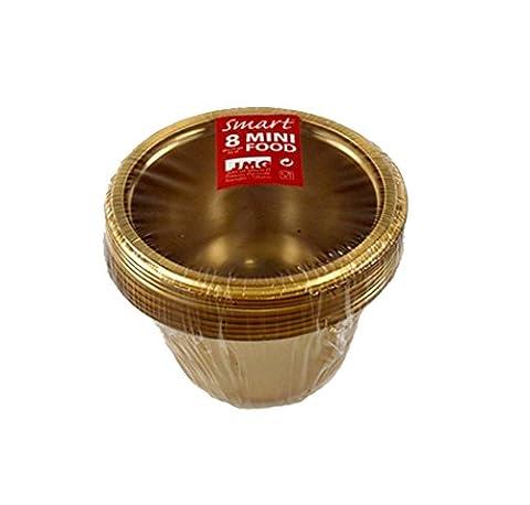 Party Snack und Dip Schälchen Fingerfood Catering Einweggeschirr (Rund 22cl (8 Stück), Gold) (Runde Dip)